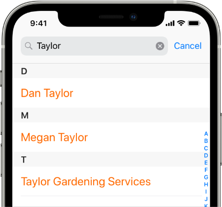 Filter Contacts Screenshot